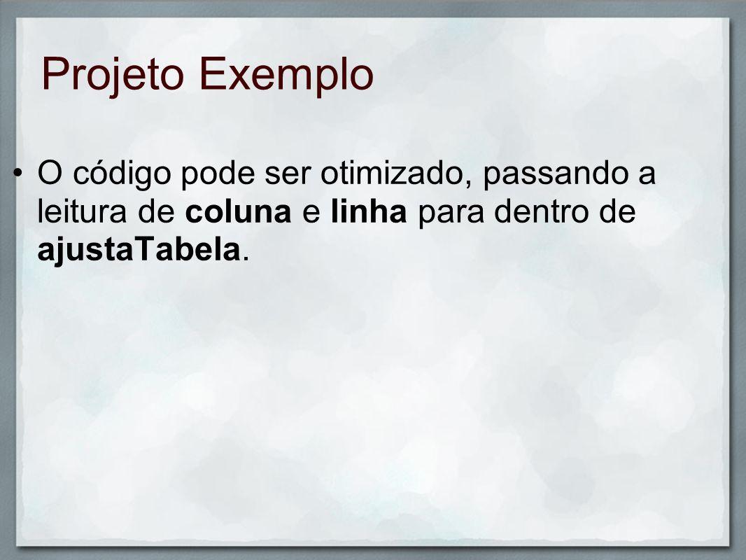 Projeto ExemploO código pode ser otimizado, passando a leitura de coluna e linha para dentro de ajustaTabela.