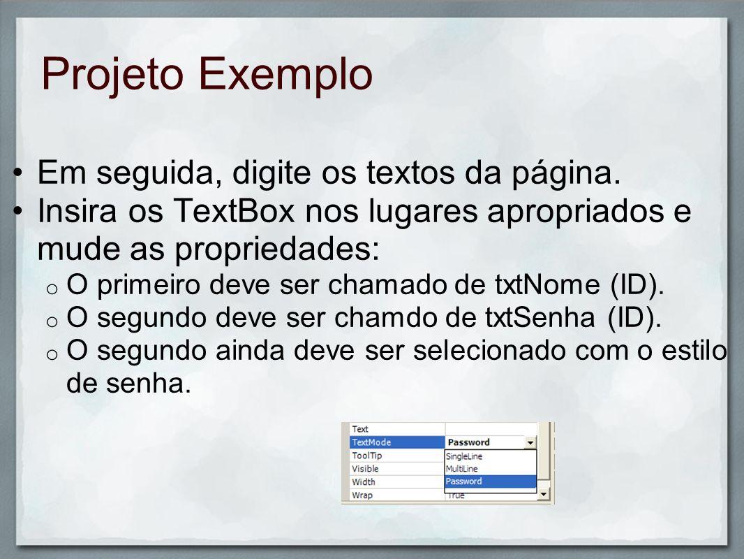 Projeto Exemplo Em seguida, digite os textos da página.