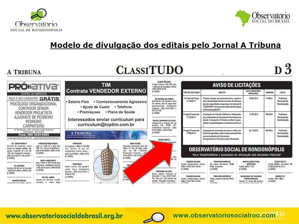 Modelo de divulgação dos editais pelo Jornal A Tribuna