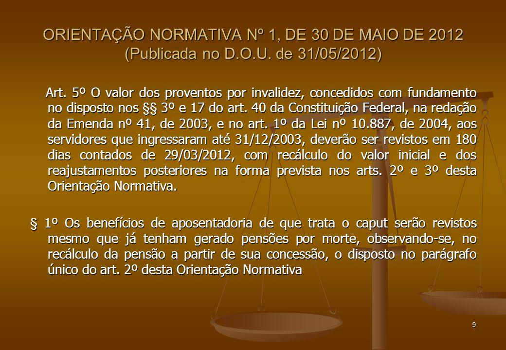 ORIENTAÇÃO NORMATIVA Nº 1, DE 30 DE MAIO DE 2012 (Publicada no D. O. U