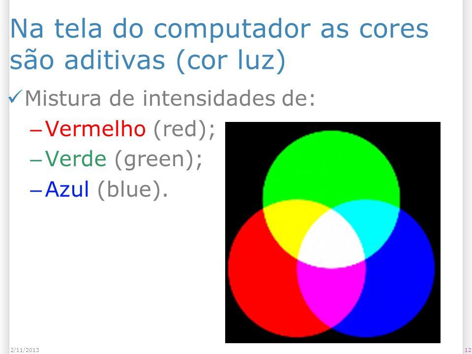 Na tela do computador as cores são aditivas (cor luz)