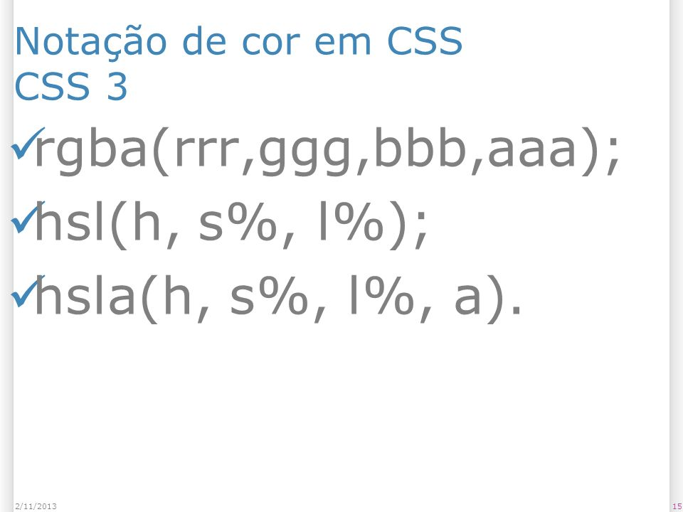 Notação de cor em CSS CSS 3