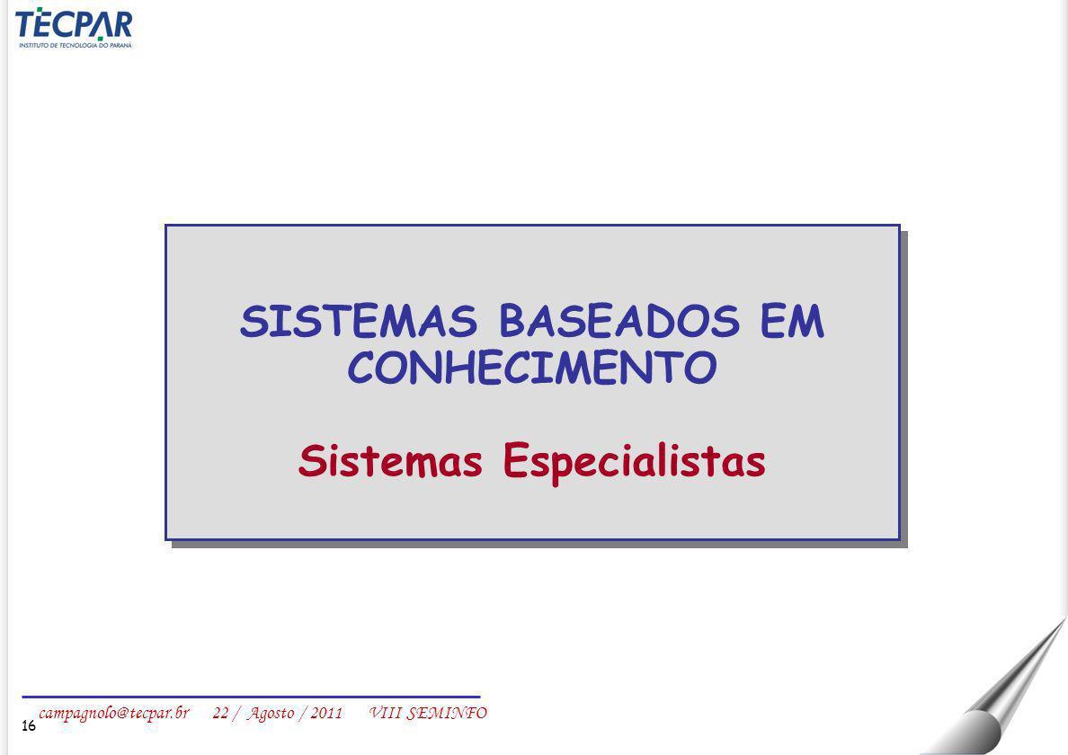 SISTEMAS BASEADOS EM CONHECIMENTO Sistemas Especialistas