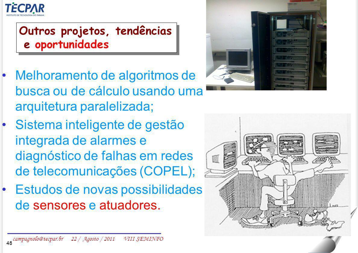 Estudos de novas possibilidades de sensores e atuadores.