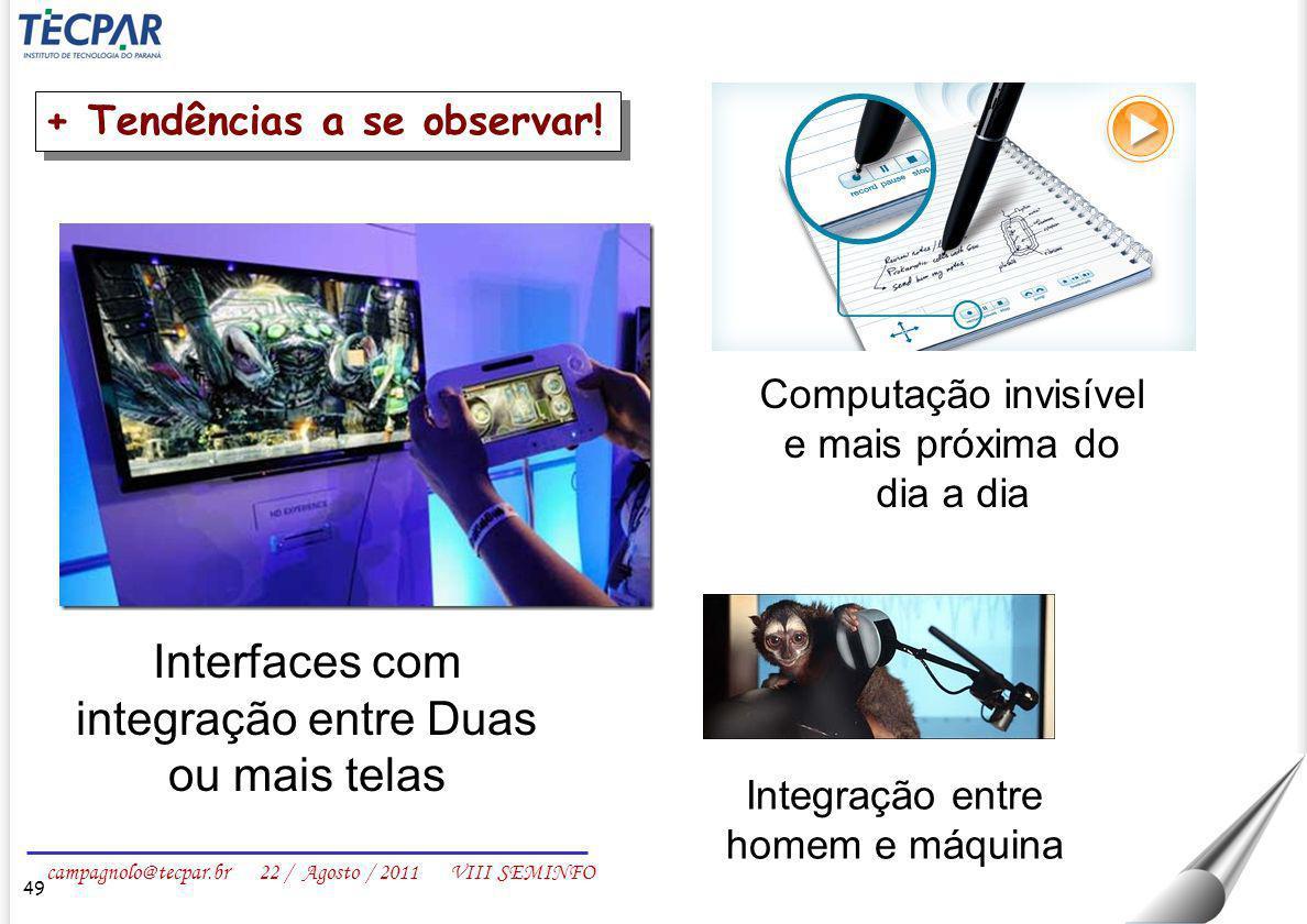 Interfaces com integração entre Duas ou mais telas