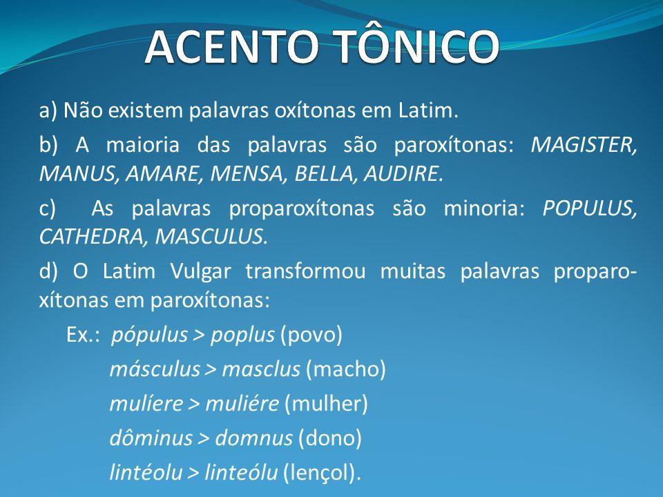 ACENTO TÔNICO a) Não existem palavras oxítonas em Latim.