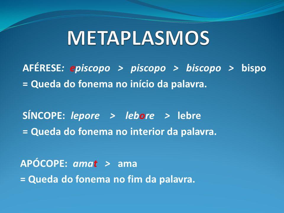 METAPLASMOS AFÉRESE: episcopo > piscopo > biscopo > bispo
