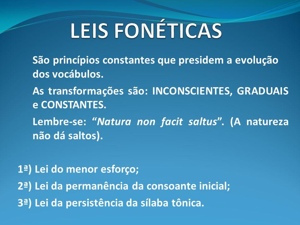 LEIS FONÉTICAS São princípios constantes que presidem a evolução dos vocábulos. As transformações são: INCONSCIENTES, GRADUAIS e CONSTANTES.