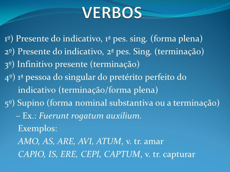 VERBOS 1º) Presente do indicativo, 1ª pes. sing. (forma plena)