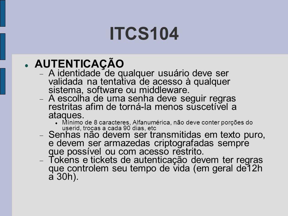 ITCS104 AUTENTICAÇÃO. A identidade de qualquer usuário deve ser validada na tentativa de acesso à qualquer sistema, software ou middleware.