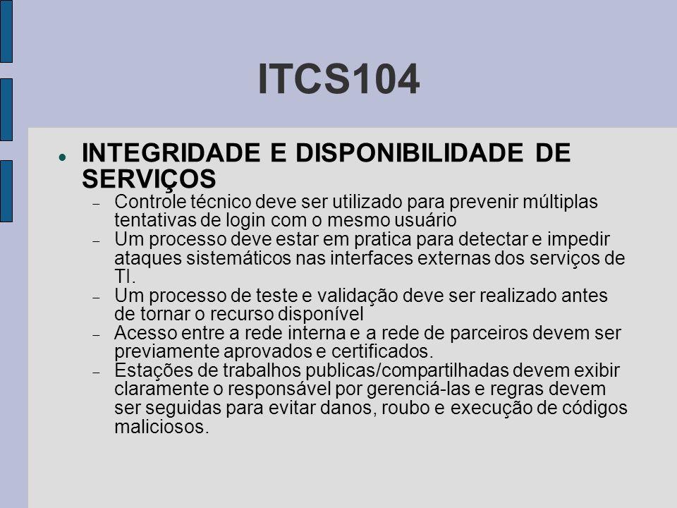 ITCS104 INTEGRIDADE E DISPONIBILIDADE DE SERVIÇOS