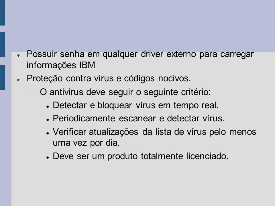 Possuir senha em qualquer driver externo para carregar informações IBM
