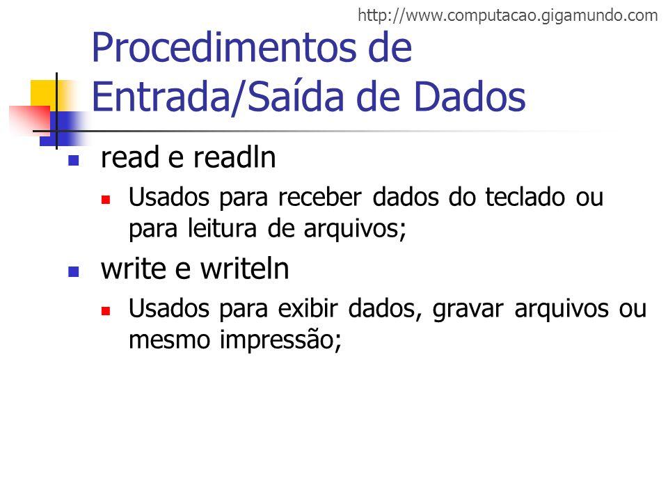Procedimentos de Entrada/Saída de Dados