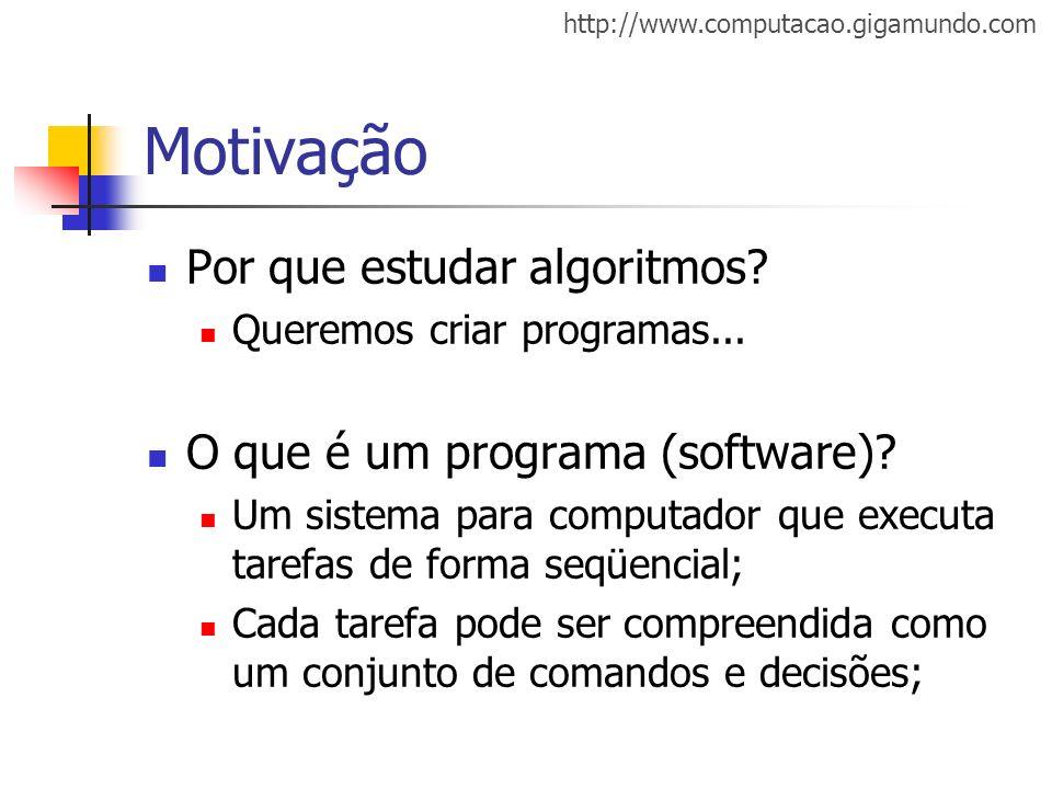 Motivação Por que estudar algoritmos O que é um programa (software)