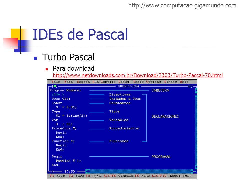 IDEs de Pascal Turbo Pascal