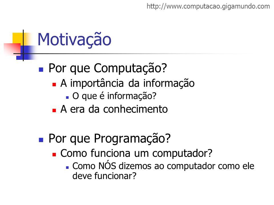 Motivação Por que Computação Por que Programação