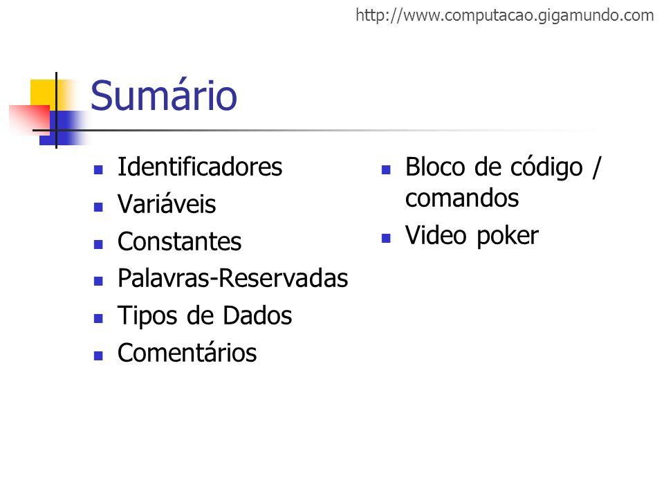 Sumário Identificadores Variáveis Constantes Palavras-Reservadas