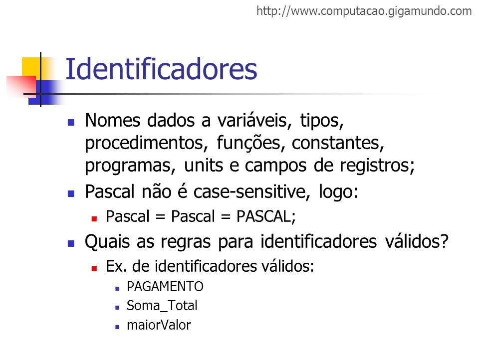 Identificadores Nomes dados a variáveis, tipos, procedimentos, funções, constantes, programas, units e campos de registros;