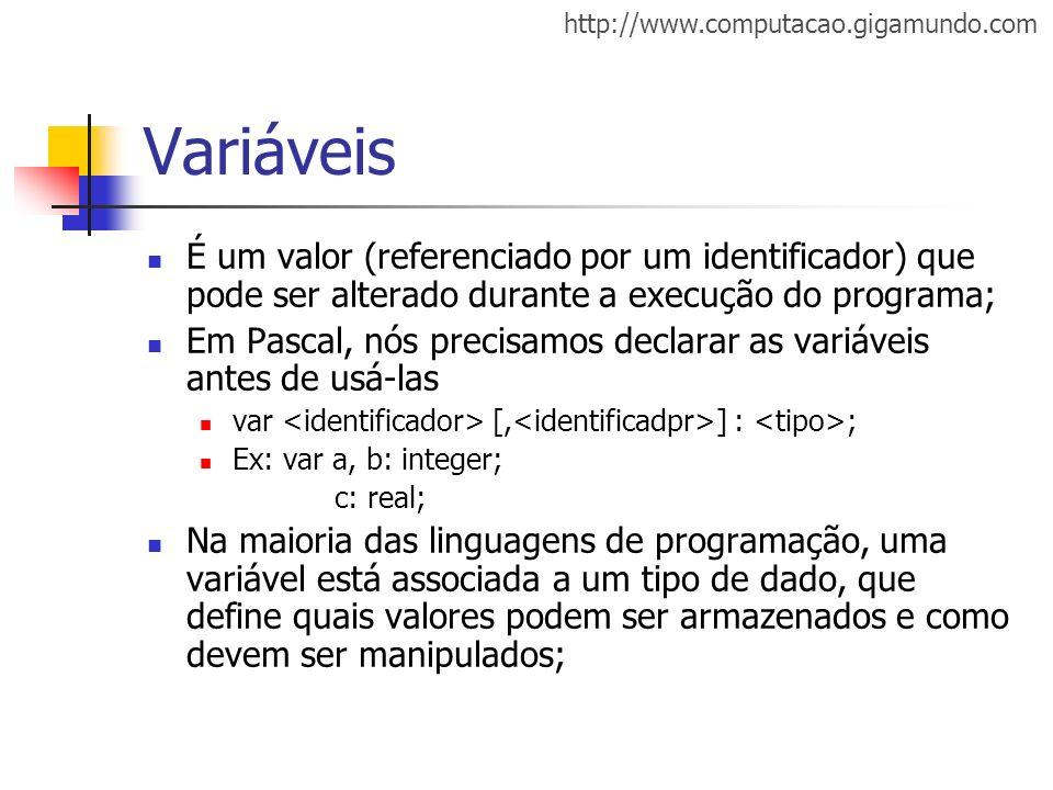 Variáveis É um valor (referenciado por um identificador) que pode ser alterado durante a execução do programa;