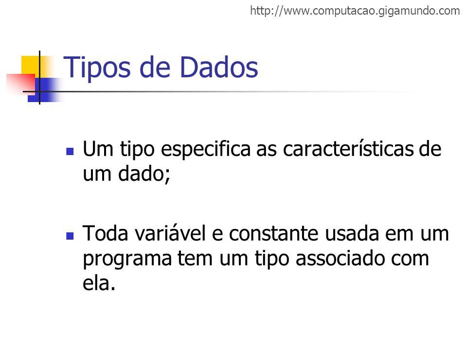 Tipos de Dados Um tipo especifica as características de um dado;