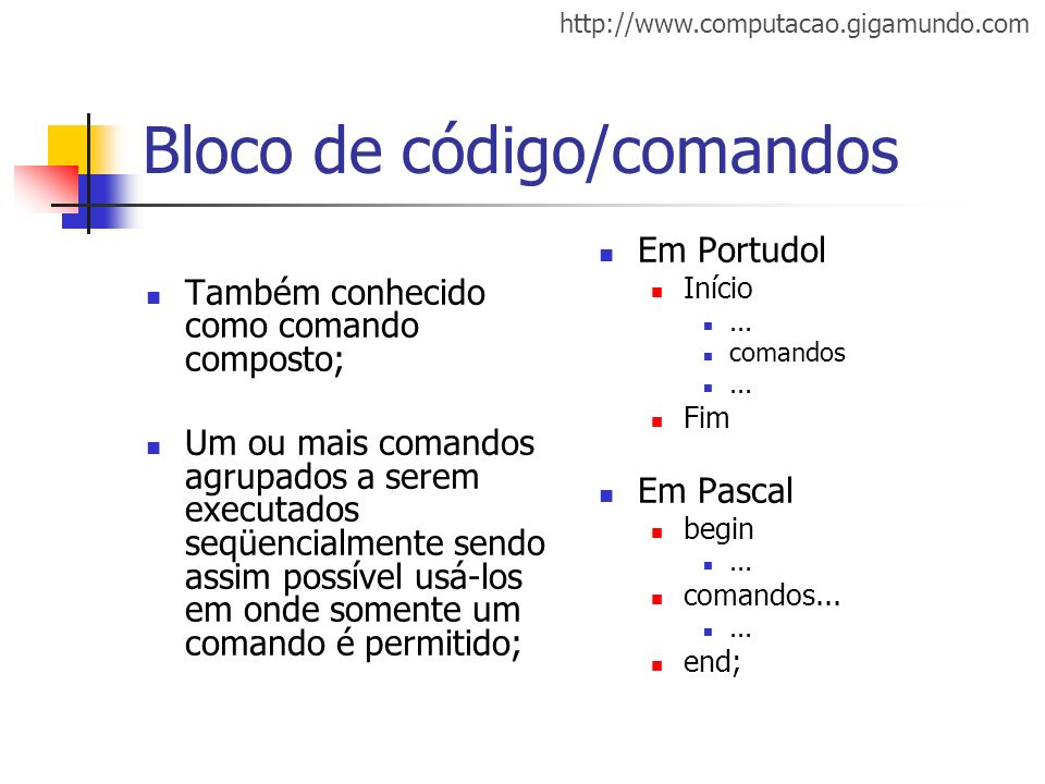 Bloco de código/comandos