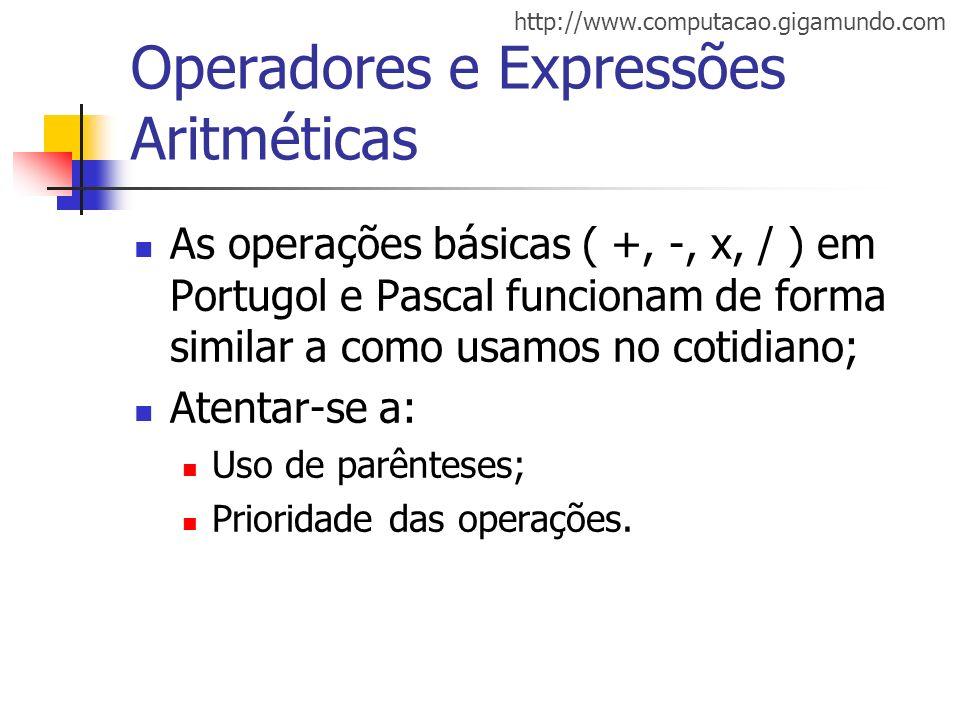 Operadores e Expressões Aritméticas