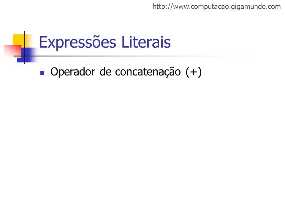 Expressões Literais Operador de concatenação (+)