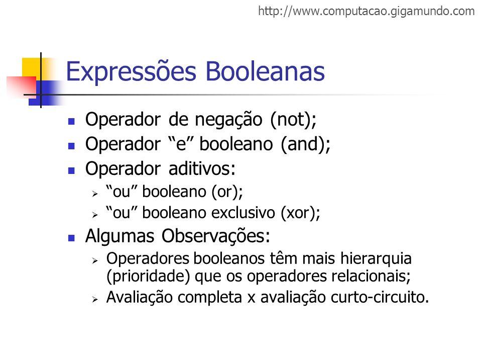 Expressões Booleanas Operador de negação (not);