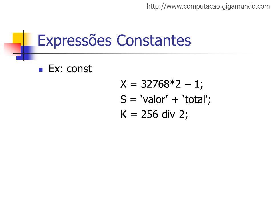 Expressões Constantes