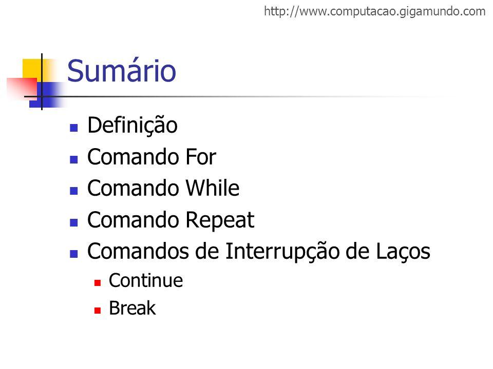 Sumário Definição Comando For Comando While Comando Repeat