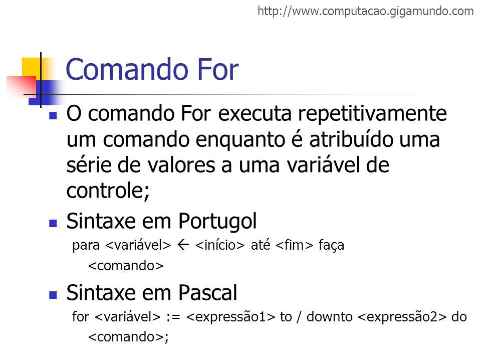 Comando For O comando For executa repetitivamente um comando enquanto é atribuído uma série de valores a uma variável de controle;