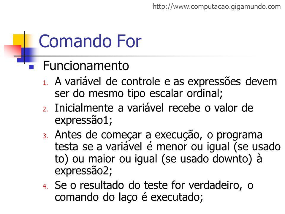 Comando For Funcionamento