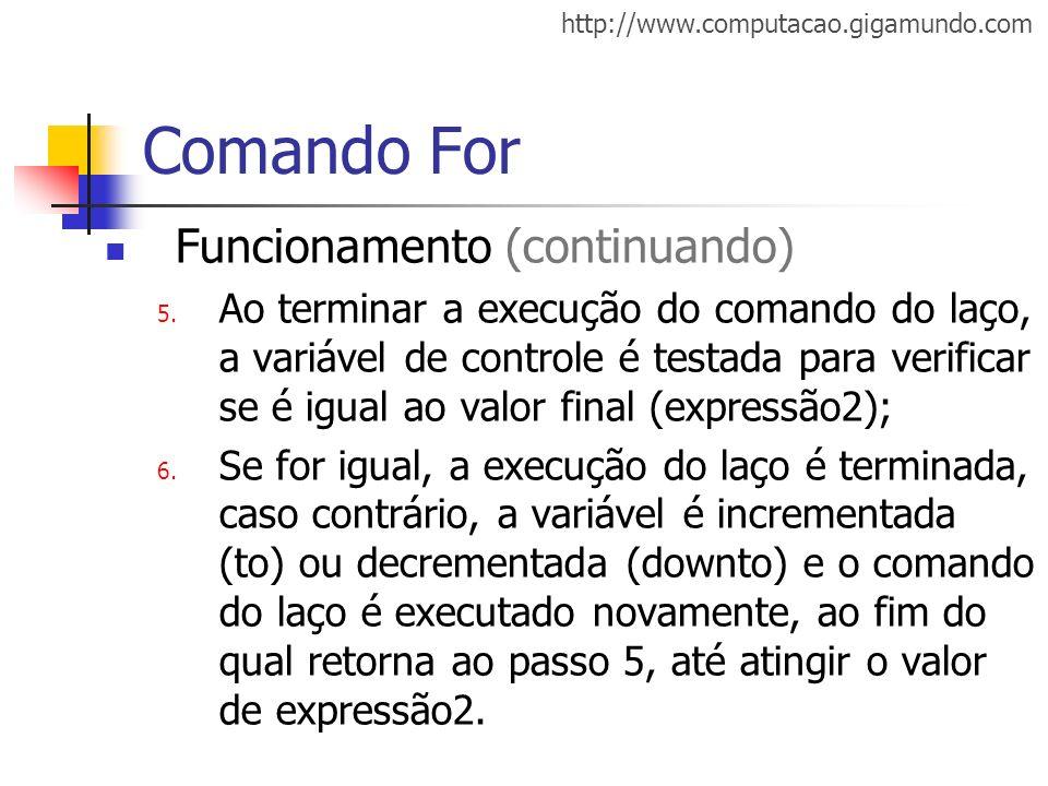 Comando For Funcionamento (continuando)