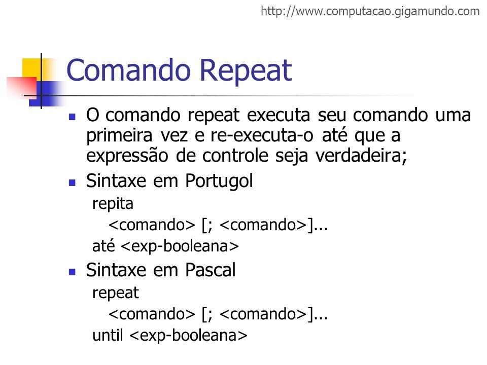 Comando Repeat O comando repeat executa seu comando uma primeira vez e re-executa-o até que a expressão de controle seja verdadeira;