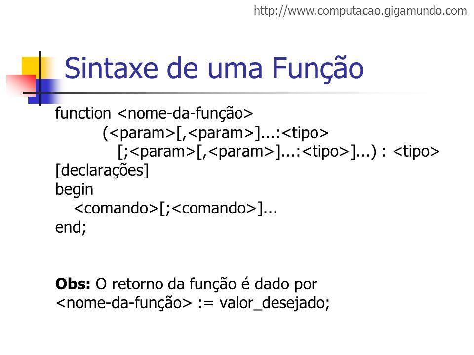 Sintaxe de uma Função function <nome-da-função>