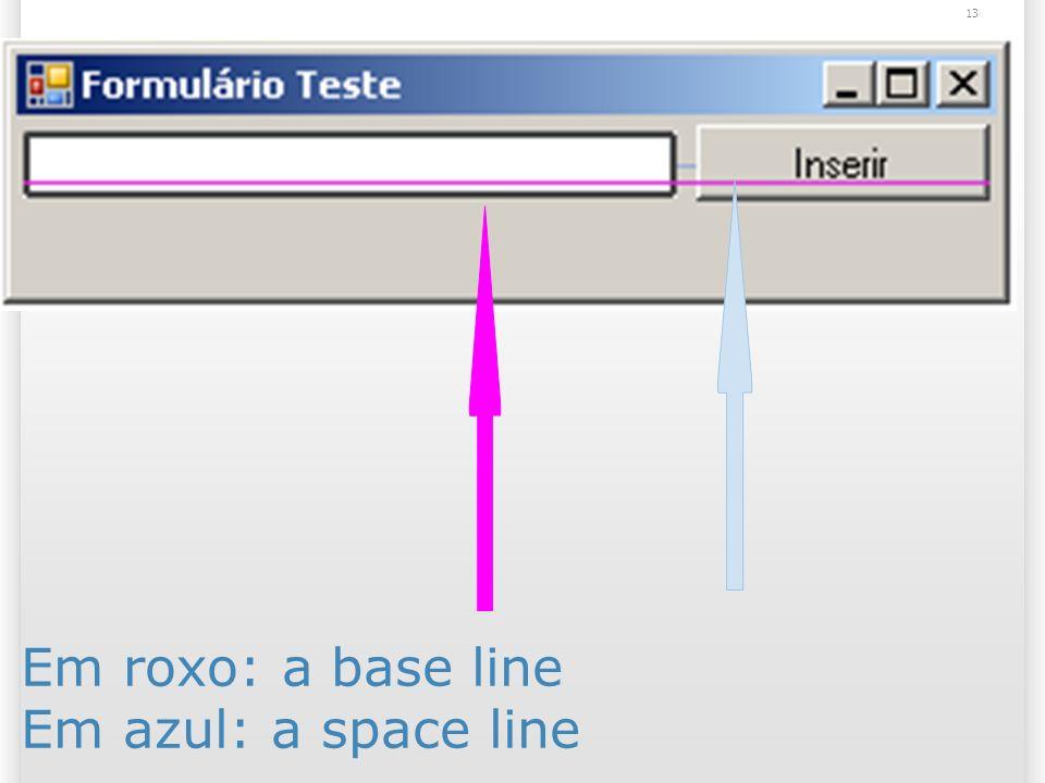 Em roxo: a base line Em azul: a space line