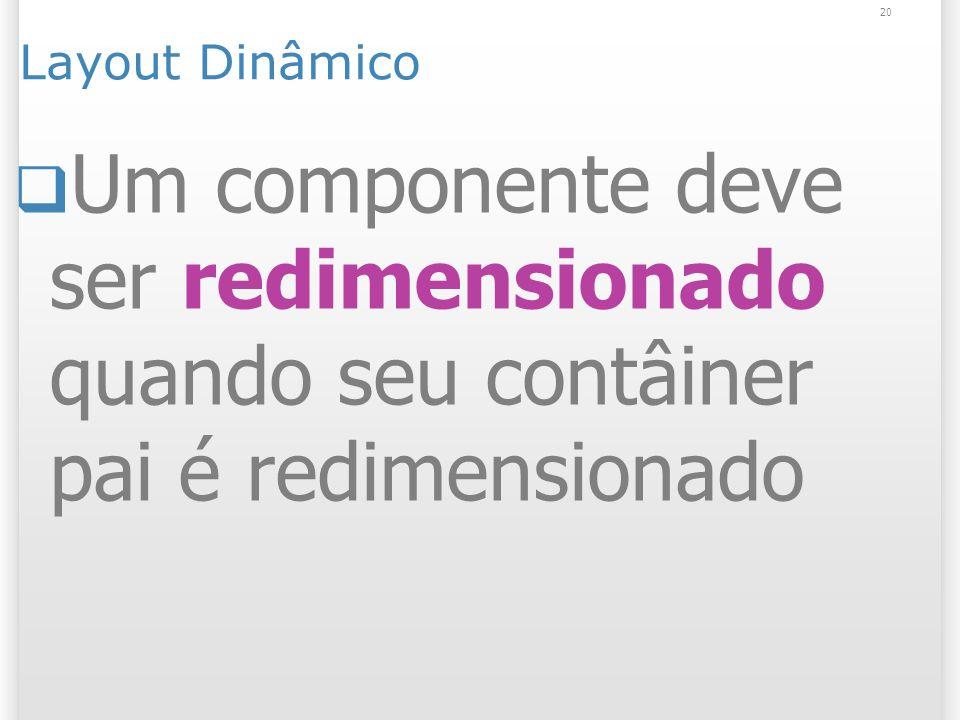 Layout Dinâmico 23/03/2017. Um componente deve ser redimensionado quando seu contâiner pai é redimensionado.