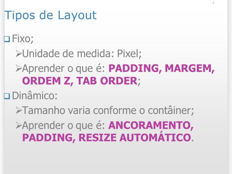 Tipos de Layout Fixo; Unidade de medida: Pixel;