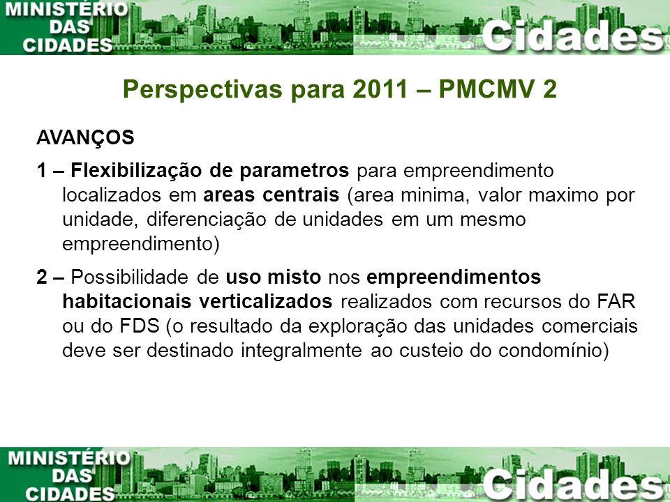 Perspectivas para 2011 – PMCMV 2