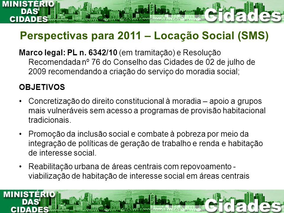 Perspectivas para 2011 – Locação Social (SMS)