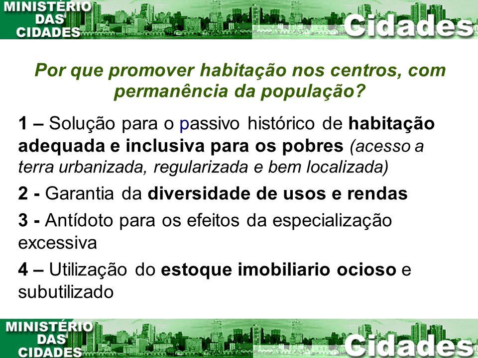 Por que promover habitação nos centros, com permanência da população