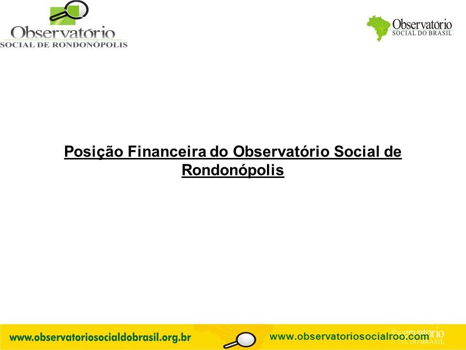 Posição Financeira do Observatório Social de Rondonópolis