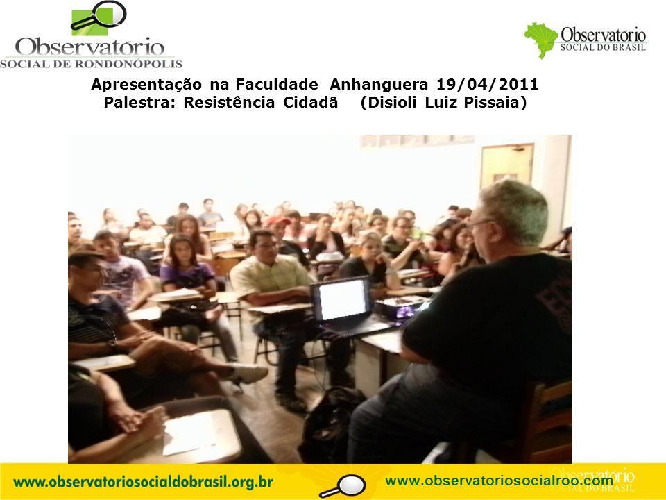 Apresentação na Faculdade Anhanguera 19/04/2011