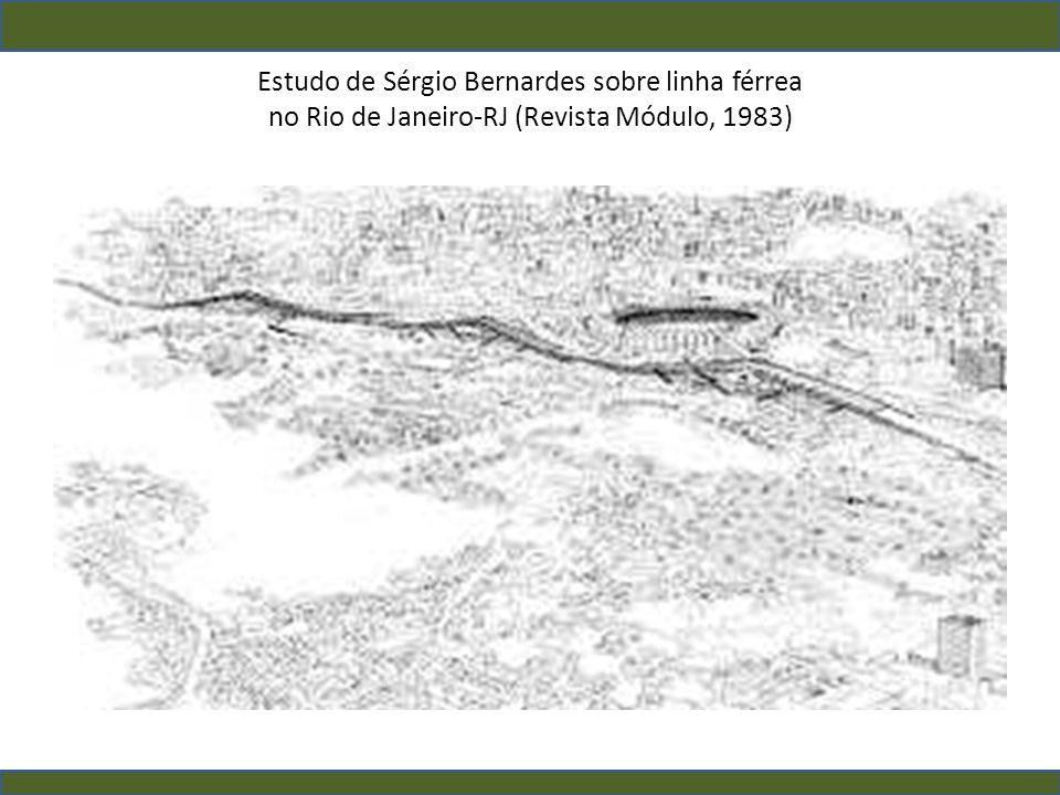 Estudo de Sérgio Bernardes sobre linha férrea no Rio de Janeiro-RJ (Revista Módulo, 1983)