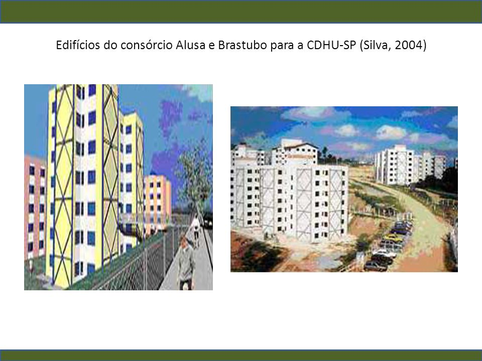 Edifícios do consórcio Alusa e Brastubo para a CDHU-SP (Silva, 2004)