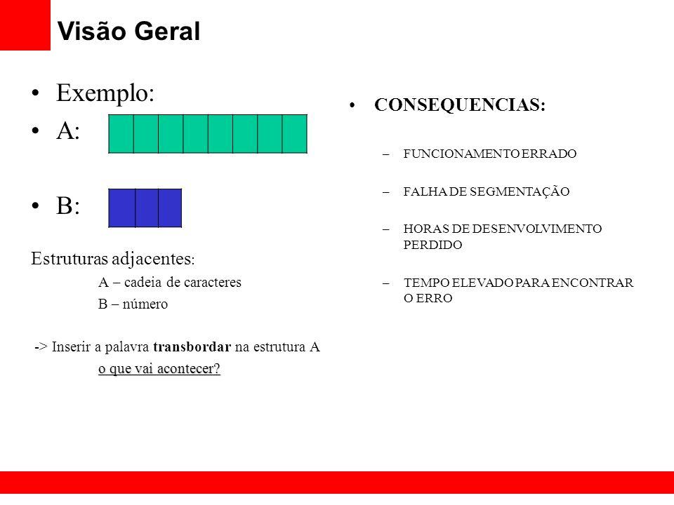Visão Geral Exemplo: A: B: CONSEQUENCIAS: Estruturas adjacentes: