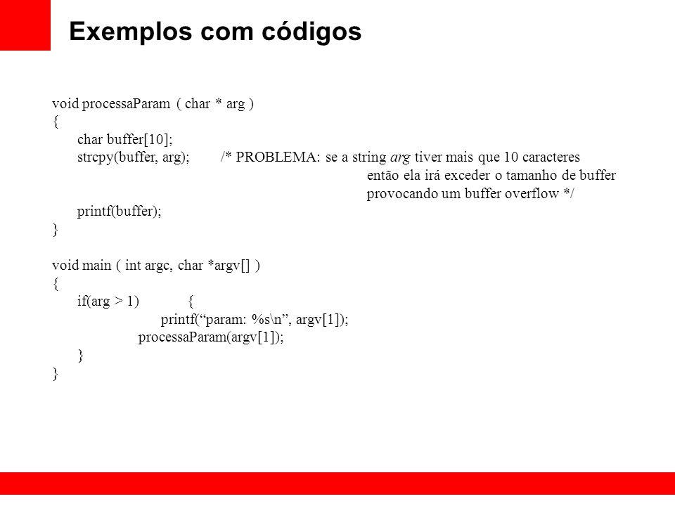 Exemplos com códigos void processaParam ( char * arg ) {