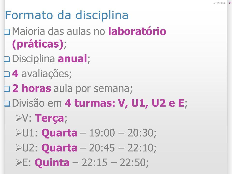 Formato da disciplina Maioria das aulas no laboratório (práticas);