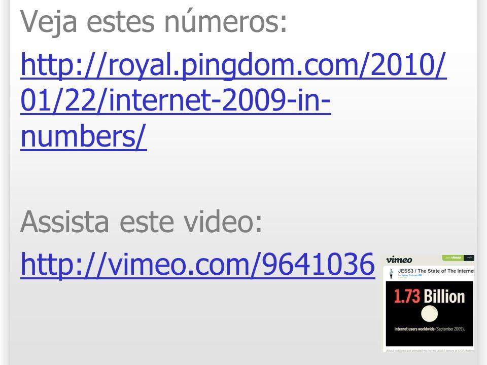 Veja estes números:http://royal.pingdom.com/2010/01/22/internet-2009-in-numbers/ Assista este video: