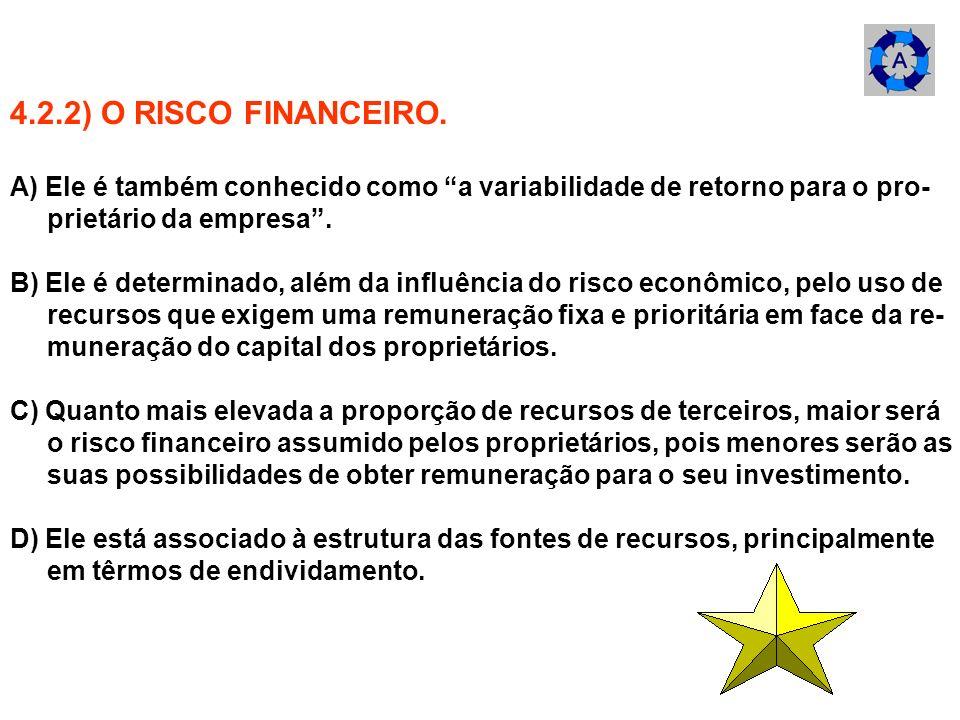 4.2.2) O RISCO FINANCEIRO.A) Ele é também conhecido como a variabilidade de retorno para o pro- prietário da empresa .